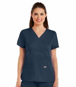 """Grey's Anatomy #4153 V-Neck Mock Wrap Scrub Top in """"Navy"""" Size XL"""