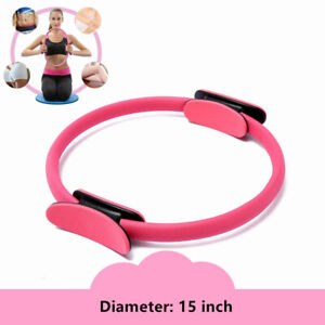 Pink Fitness Exerciser Pilates Ring Yoga Circle Body Build Trainer 15 inch