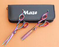"Professional Hairdressing Scissors Barber Salon Thinning Shears SET 6.5"" Multi"