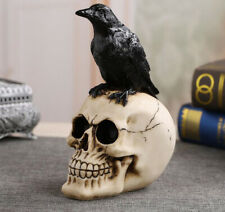"Steampunk Raven Crow On Skull Figurine 8"" High Resin Statue New!"