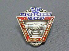 VINTAGE HM SILVER NATIONAL UNION OF RAILWAY MEN 30 YEAR MEMBERSHIP ENAMEL BADGE
