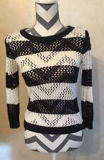 Small Arizona Jeans Black White Striped Women's Knitted Sweater 3/4 Sleeve Top