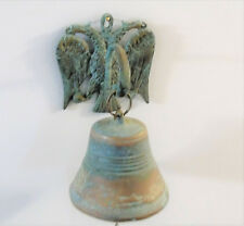 Old Chinese Bronze DOUBLE DRAGON BELL Wall Mount Hook Swing Chain Clapper Vessel