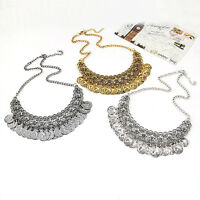 NE_ HK- Extremely Cool Women's Retro Coin Pendant Statement Bib Chain Necklace