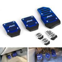 3pcs Blue Sports Non-Slip Manual Car Accessories Gas Brake Pedals Pad Cover