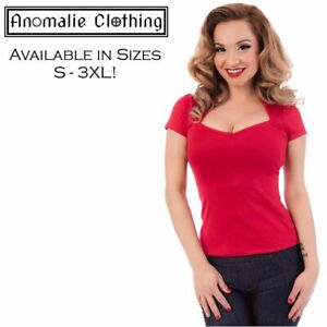 Rock Steady Red Sophia Top - 1950s Vintage Retro Rockabilly Pinup Psychobilly