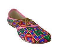 Indian Handmade Women Shoes Leather Mojari Flip-Flops Flat UK 2.5-5.5 EU 35-38.5