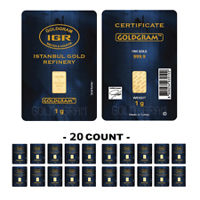 Lot of 20 - 1 Gram IGR Mint 999.9 Gold Bar Sealed W Assay Certificate 24 Karat