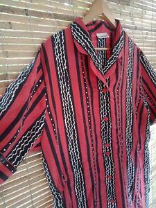 Ladies Vintage Retro Dress Sz 48 (16) Gerry Weber Silk Striped Spotted Button Up