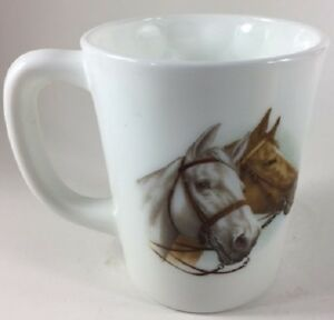 Mug w/ Horse Heads (White & Brown) - Milk Glass - Rosso Exclusive - USA