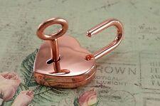 Padlock Lock Love Heart Pendant Charm  w/ key- Rose Gold Color - New