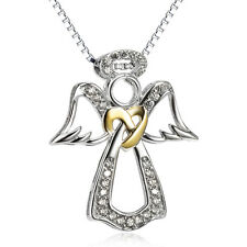 925 Sterling Silver Pendant Angel Wing Heart Jewelry Charms CZ Necklace for lady
