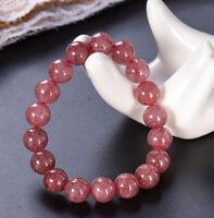 cuff Sutra Tibet silver Gemstone 8MM Strawberry Quartz gules Bracelet 7.5inches