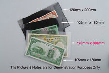 "10pcs NEW ""120 x 200mm"" Stamp & Banknote Holder, Clear Underlayed FREE POSTAGE"