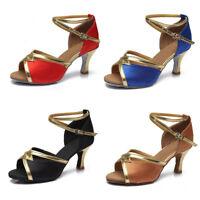 Brand New Women's Ballroom Latin Tango Dance Shoes heeled Salsa Dancing 4 colors