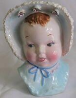 """Vintage Japan Ceramic Baby With Bonnet Head Vase Blue with Lace Bonnet 6.5"""" Flaw"""