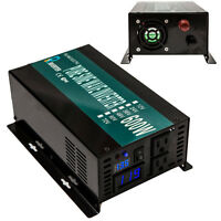 Car Power Inverter 600W Pure Sine Wave Inverter 12V DC to 120V AC 2 US outlets