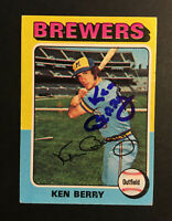 Ken Berry Brewers signed 1975 Topps baseball card #432 Auto Autograph