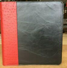 Lg Business Zipper Portfolio Amp Check Binder Black Leather Brick Red Ostrich Trim
