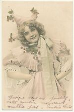French illustrated postcard 1905 - little girl with nice dress