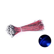 20pcs 3mm Blue Pre-wired LED Diodes Water Clear Round Top DC9-12V Ultra Bright