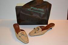 "Donald J. Pliner ""Missy"" Beige Leather Shoes Slip On Mules Sz 6.5 Heels $210"