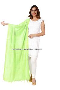 Indian Art Silk Woven Zari Chanderi Silk Long Stole Banarasi Dupatta Shawl Green