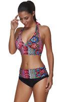 Women Swimsuit 2 Piece Tankini Halter Backless Swimwear Push Up Brazilian Bikini