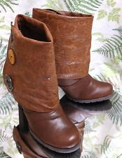 MUK LUKS BROWN PULL ON DRESS ANKLE BOOTS FASHION HEELS SHOES US WOMENS SZ 8