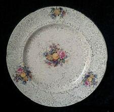 H&K TUNSTALL DINNER PLATE ART DECO IRONSTONE CHINA PINK ROSES ORANGES CORNUCOPIA