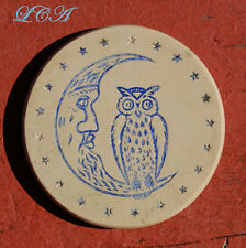 Antique Poker Chip w/ excellent picture of Owl on Crescent Moon