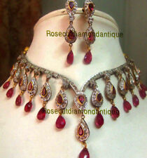 Diamond Silver Wedding Ruby Necklace Set Victorian Look 16.48ct Antique Rose Cut