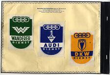 3 org Stoffabzeichen Sport 1936 Auto Union Wanderer Audi DKW Dienst BEVO gewebt