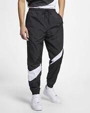 Nike Men's Large Big Swoosh Black Woven Joggers Pants Trousers AR9894-010