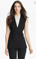 THEORY Black Annea Tuxedo Vest, Wool, Sleeveless Blazer, Pockets, Women's Size 0