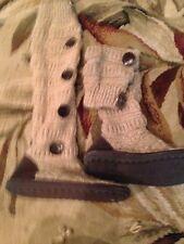 MUK LUKS MIRANDA Marled tan tweed knit Boot BUTTON BOOTS 7 EUC