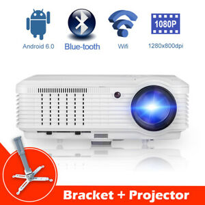Home Cinema Android Projector Full HD Airplay Online Party HDMI 1080p + Ständer