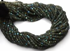 """Natural Gem Blue Fire Labradorite 4MM Micro Faceted Rondelle Beads 13"""" Strand"""