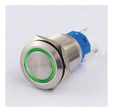Druckschalter Edelstahl IP67 19mm LED Ring Grün Schließer Öffner 5A Löten 8313