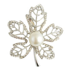 Silver Diamante Pearl Leaf Brooch / Maple Leaf Brooch / Mothers Day Gift  #506