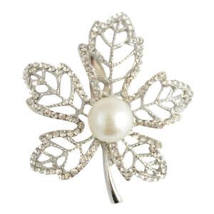 Silver Diamante Pearl Leaf Brooch / Maple Leaf Brooch / Mothers Day Gift  #506