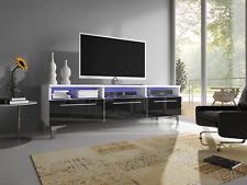 TV Schrank RTV 2W Wohnzimmer Fernsehschrank Weiß Hochglanz 3 Farben LED Modern