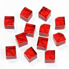 SCEA135 Light Siam Red 8mm Faceted Square Dice Swarovski Crystal Beads 12pc