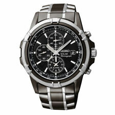 Seiko SSC143 Men's Solar Dress Chronograph Black Dial Two-Tone Watch