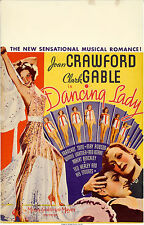 "Poster Dancing Lady 1933 Window Card 14""x22"" VF 7.5 Joan Crawford Clark Gable"