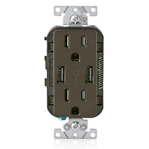 Leviton In-Wall Charger 3.6A USB Dual Type A 15Amp Tamper-Resistant Outlet Brown