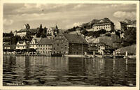Meersburg am Bodensee alte Postkarte 1953 gelaufen Teilansicht über den Bodensee
