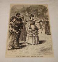 1879 magazine engraving ~ LADIES ARCHERY, Regent's Park, London