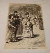 1879 Revista Grabado ~ Mujer Tiro con Arco,Regent's Parque,Londres