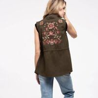 SWEET WANDERER Women's SMALL Floral Embroidered Olive Green Utility Vest NWT NEW